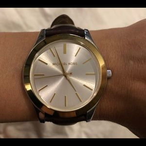 "Michael Kors ""Slim Runway"" leather watch"